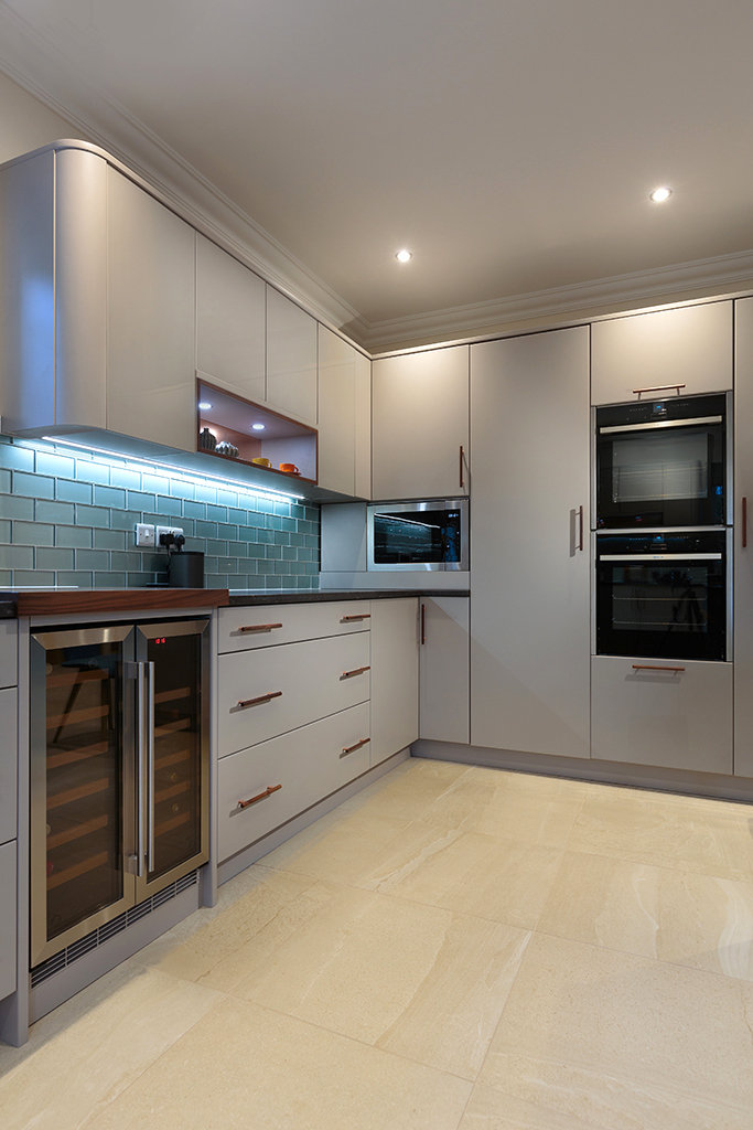 Modern Kitchen In Farrow And Ball Purbeck Stone With A Splash Of
