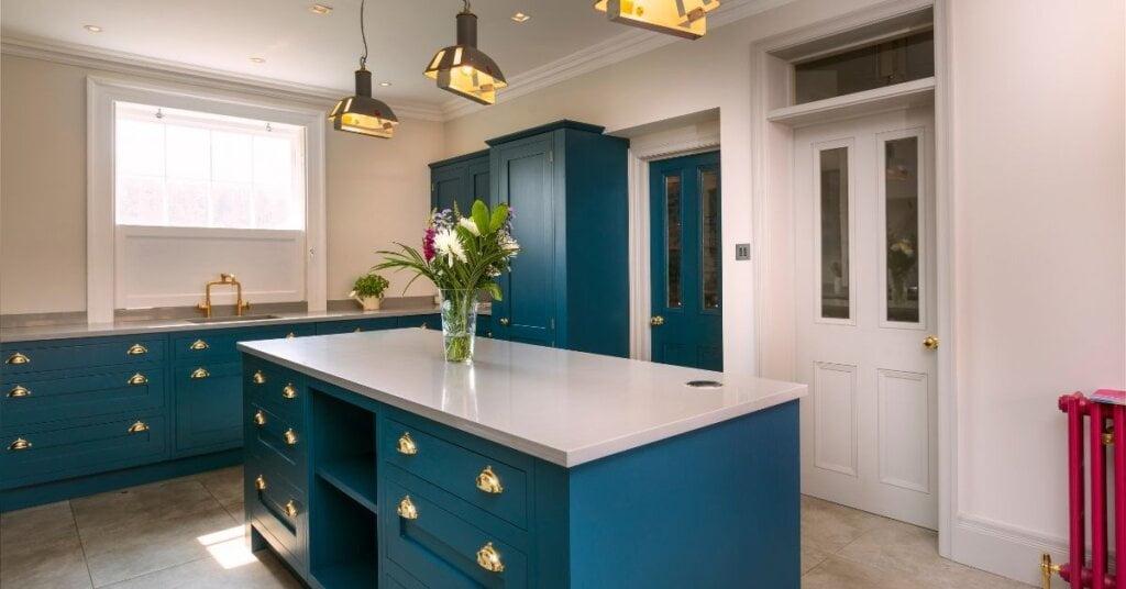 Blue coloured kitchen - kestrel kitchens