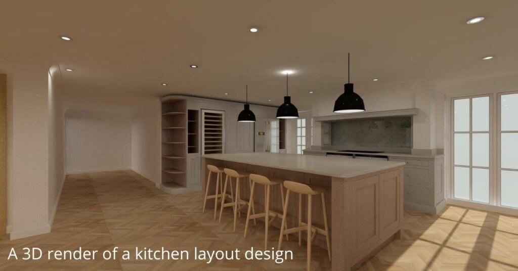 A 3D render of a kitchen design